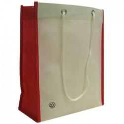 Non-Woven Two Toned Fabric Bag - Beige/Red