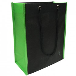 Non-Woven Two Toned Fabric Bag - Black/Green