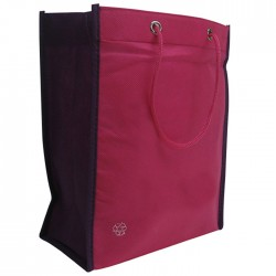 Non-Woven Two Toned Fabric Bag - Pink/Purple
