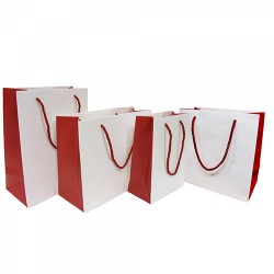 Two Toned Paper Laminated Bag - White/Red