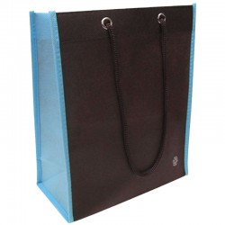Non-Woven Two Toned Fabric Bag - Brown/Light Blue